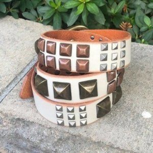 Linea Pelle Hand Crafted Studded Leather Belt